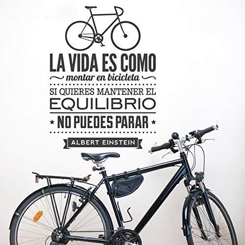 La vida es como andar en bicicleta Cita en español Albert Einstein diciendo Calcomanía Dormitorio Sala de estar GIMNASIO Decoración del hogar Etiqueta de la pared Arte mural cartel
