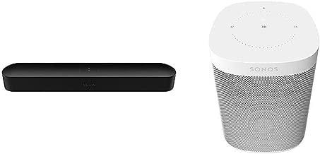 Sonos Beam - Smart TV Sound Bar with Amazon Alexa Built-in - Black Bundle with Sonos One (Gen 2) - Voice Controlled Smart Speaker with Amazon Alexa Built-in - White