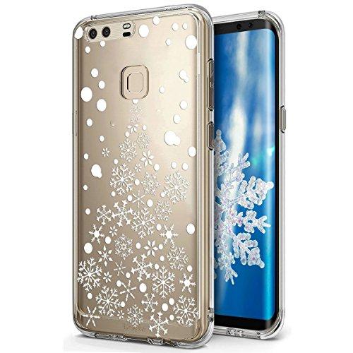 für Huawei P9 Hülle Schutzhülle Silikon Transparent mit Weihnachten Schneeflocke Hirsch Muster Handyhülle Durchsichtige Backcover TPU Case Tasche Etui Bumper, Weißer Weihnachtsbaum Schneeflocke