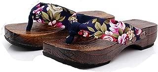 YANG-YI Women Wooden Clogs Slippers Summer Thongs Flip Flop Sandals Flat Shoes Japanese Clog Shoes