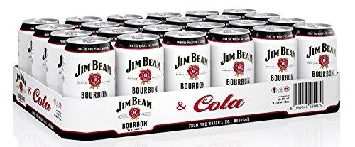 Jim Beam & Cola Bourbon Whiskey Dose, eine perfekte Mischung, 10% Vol, 24 x 0,33l Einweg