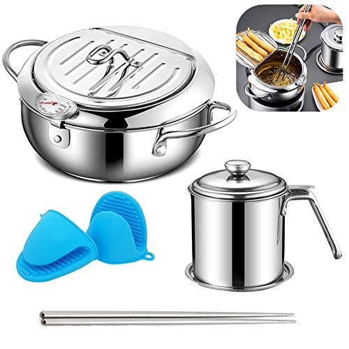 Deep Frying Pan,Japanese Tempura Deep Fryer Household Frying Pot with Thermometer,Dust-Proof Lid and Oil Drip Rack,Nonstick Stainless Steel Fryer Pot for Kitchen Cooking or Frying Oil