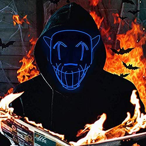 Queta Máscara de Halloween LED Máscara de Cosplay Carnaval Purga Máscara Led Accesorios de Halloween (Azul)