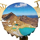VICWOWONE - Mantel redondo decorativo de 40 pulgadas para el Parque Nacional Tongariro, Lagos...