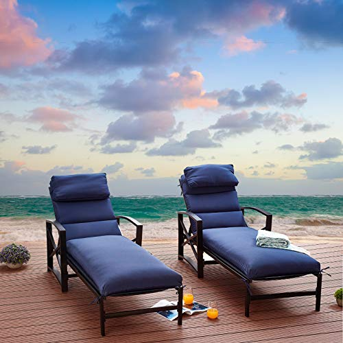 Festival Depot 2 Pieces Patio Outdoor Chaise Lounge Recliner Chairs with Cushions Set Premium Fabric Metal Frame Furniture Garden Bistro Soft Headrests (Blue)