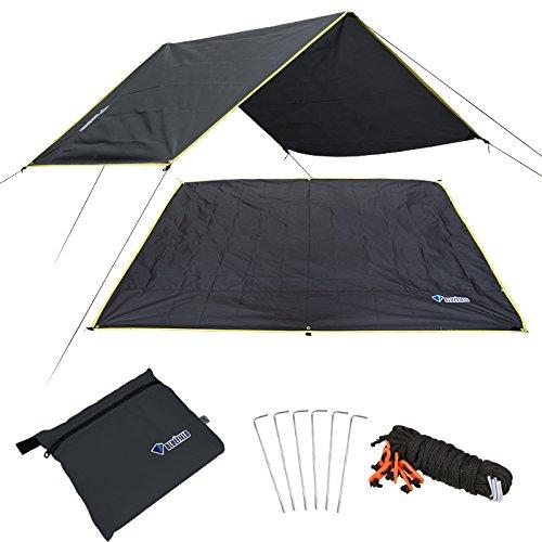 Campingplane, wasserdichte Picknick-Matte, multifunktionales Zelt-Fußabdruck mit Kordelzug Tragetasche für Picknick, Wandern (schwarz, mittel)