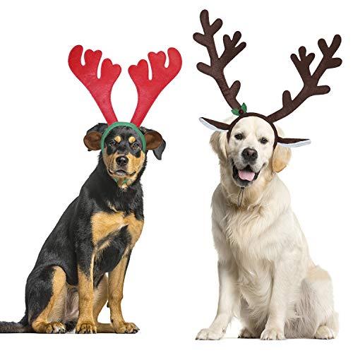BWOGUE Hunde-Stirnbänder-Set mit Weihnachts-Elch-/Rentier-Geweih, für mittelgroße und große Hunde