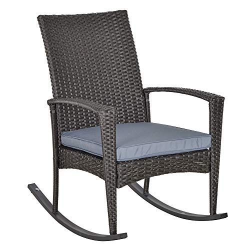 Outsunny Rattan Rocking Chair Rocker Garden Furniture Seater Patio Bistro Relaxer Outdoor Wicker Weave with Cushion - Grey