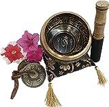 Grande set di piatti tibetani con ciotola di canto Tingsha, con martello e cuscino, regali aggiuntivi all'interno, per yoga, meditazione, preghiera buddista e guarigione dei chakra.