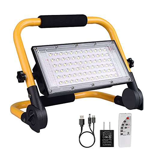 Solar LED Work Light Rechargeable with Remote - ERAY Portable Flood Camping Light Spotlights, 4 Light Modes/ Magnetic Base/ 360° Rotation, for Outdoor Emergency, Car Repairing and Job Site Lighting