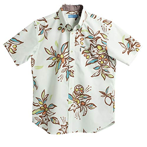 [MAJUN (マジュン)] 国産シャツ かりゆしウェア アロハシャツ 結婚式 メンズ 半袖シャツ ボタンダウン ミラクルフルーツ グリーン 5L