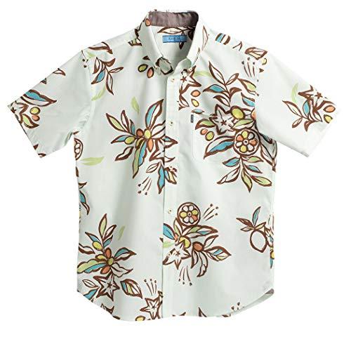 [MAJUN (マジュン)] 国産シャツ かりゆしウェア アロハシャツ 結婚式 メンズ 半袖シャツ ボタンダウン ミラクルフルーツ グリーン LL