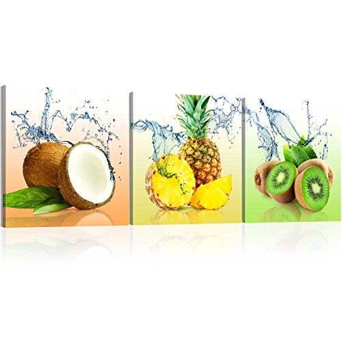 murando Acrylglasbild Obst 120x40 cm 1 Teile Wandbild auf Acryl Glas Bilder Kunstdruck Moderne Wanddekoration - Kiwi Kokosnuss Ananas Küche 030207-38