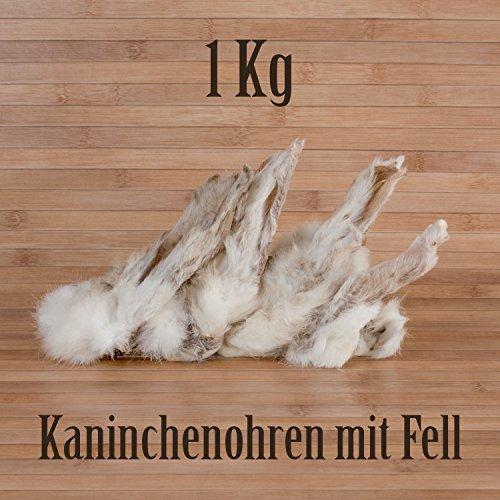 1 Kg ca. 80 Stück Kaninchenohren mit Fell fettarm Barf wie Schweineohren Rinderohren Kausnack Kauartikel