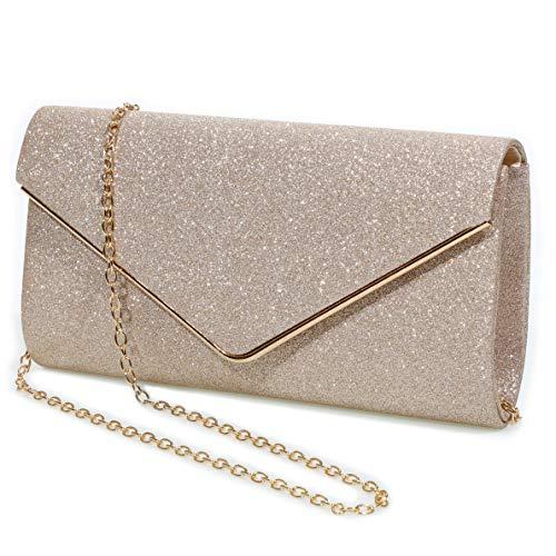 Evening Bag Clutch Purses for Women,Mansherry Ladies Sparkling Party Handbag Wedding Bag Purse Gold