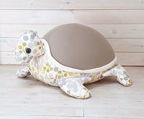 Kids Baby bean bag Floor pillow Giant animal shaped turtle Bean bag longer mocha green color with an internal pillow
