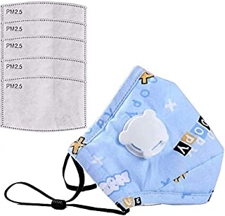 Kids Anti Pollution Cover With Activated Carbon N-95 Filters Dust Cover (Blue+ 5 Filters)