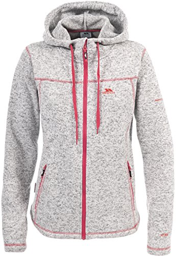 Trespass Odelia, Ghost Marl, S, Warme Fleecejacke mit Kapuze 300g/m² für Damen, Small, Weiß