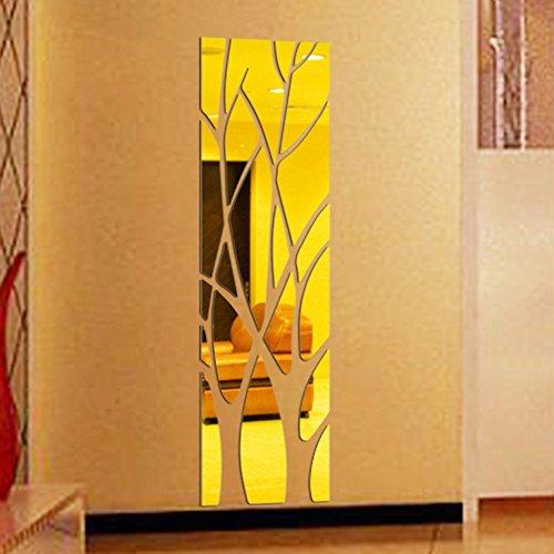 Arelead Adesivi da Parete 3D A Specchio Albero Wall Stickers Acrilico Camera da Letto Soggiorno Moderno Removibili Staccabile Pannelli Auto-Adesivo DIY Adesivi Murali Decorazione Murale (Dorata)
