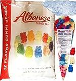 Gummi Gummy Bears Albanese 12 Flavors-Bulk Candy 5lb Bag With Blue Raspberry Red Cherry And White Strawberry Banana Gourmet Kruise Signature Gift Bag 11 OZ (NET WT 5 LBS.11OZ) 2 Item Bundle
