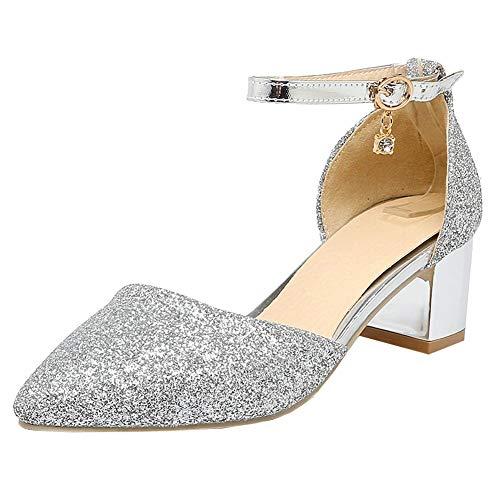 COCOLULU Damen Glitzer Pumps Blockabsatz Riemchen Spitz Ankle Strap Hochzeitsschuhe(EU Size 36, Silber)