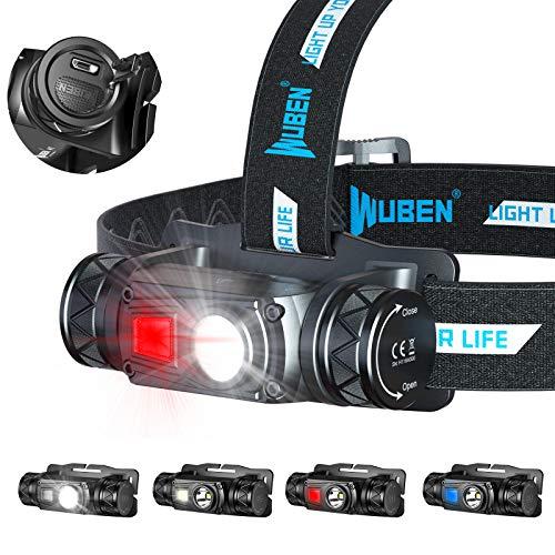 WUBEN H1 - Linterna frontal recargable potente con USB potente, 1200 lúmenes, 10 modos, impermeable, ajustable para camping, pesca, sótano, running y lectura, senderismo