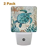 Vdsrup Vintage Ocean Turtle Night Light Set of 2 Sea Starfish World Map Plug-in LED Nightlights Auto Dusk-to-Dawn Sensor Lamp for Bedroom Bathroom Kitchen Hallway Stairs
