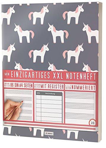 """Mein Notenheft / 86 Seiten, 44 Blätter, 12 Systeme / Mit Register und Seitenzahlen / PR301 """"Einhorn Mädchen"""" / DIN A4 Softcover"""