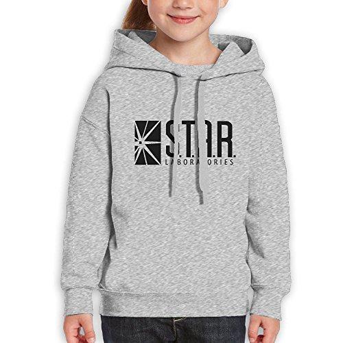 Su Jianyi Youth Casual Pullover Hoodie Sweatshirt With Kangaroo Pocket Classic Pattern Star Labs Ash XL