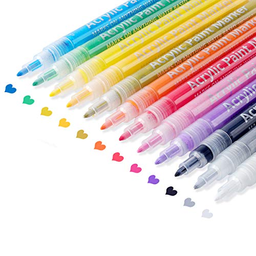 Acrylic Paint Marker Pens for Rock Painting, Stone, Ceramic, Glass, Wood, Canvas, Scrapbooking, Kids Crafts Making Supplies. JR.WHITE Fine Tip Washable Acrylic Paint Markers Set of 12 Colors