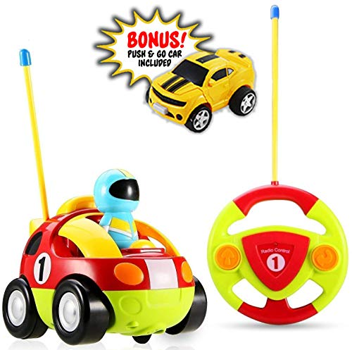 Haktoys My First RC Cartoon Race Car w/ Music Button and LED Headlights (Bonus Push & Go Car with Light and Sound Included), Great Gift Racing Action Figure Radio Control Toy for Toddlers and Kids