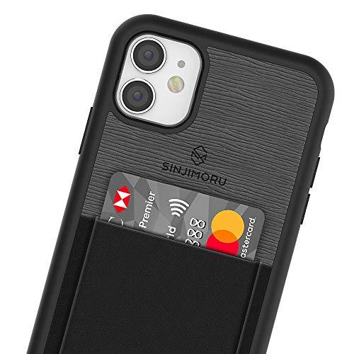 Sinjimoru - Funda para iPhone 11 con Billetera Fina, Funda Protectora de Poliuretano termoplástico con Tarjetero para la Parte Posterior del teléfono - Negro