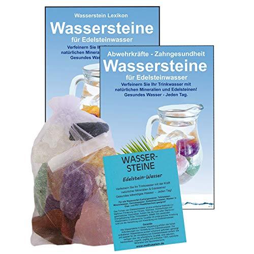 EDELSTEINE für WASSER RUHE & ENTSPANNUNG finden 4-tlg SET. 300g WASSERSTEINE zur Wasseraufbereitung für Trinkwasser + Anleitung Wasser-Energetisierung + Booklet + Zubehör. 90036