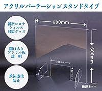 飛沫感染防止用自立式アクリルパーテーション 新型コロナ感染対策品 窓付 600x600 透明 AP-6060W