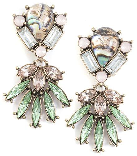Happiness Boutique Damas Pendientes Llamativos en Verde   Pendientes Largos con Diamantes de Imitación en Rosa Pálido