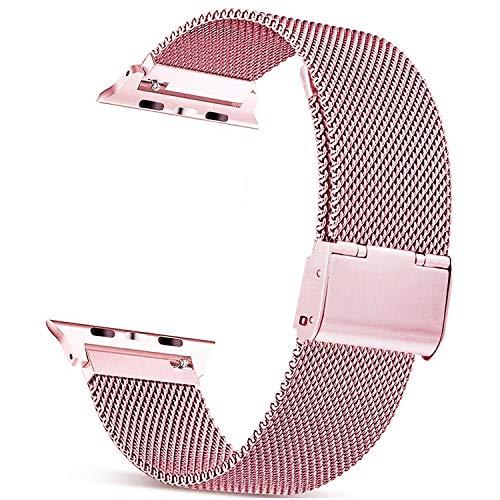 Mugust Metallo Cinturino Compatibile con Apple Watch Cinturino 38mm 40mm 42mm 44mm , Magnetico Cinturini di Ricambio Traspirante in Acciaio Inossidabile per iWatch Series 6 5 4 3 2 1 SE