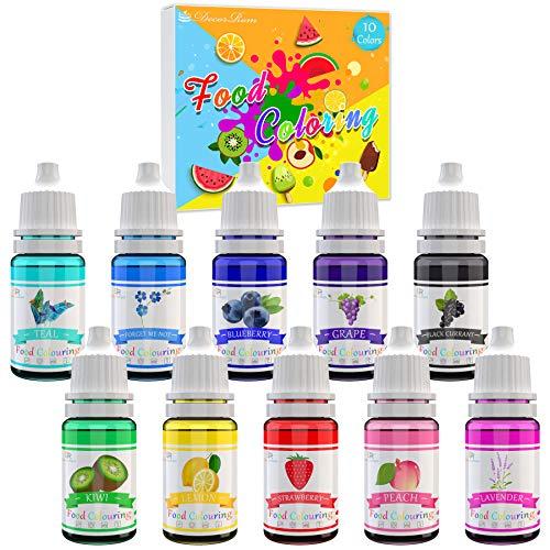 Lebensmittelfarbe 10 Farben - Hochkonzentrierte Flüssige Lebensmittel Farbe Set für Kuchen Backen, Bunte Farbstoffe für Kunsthandwerk Einfärben - 10ml jeder