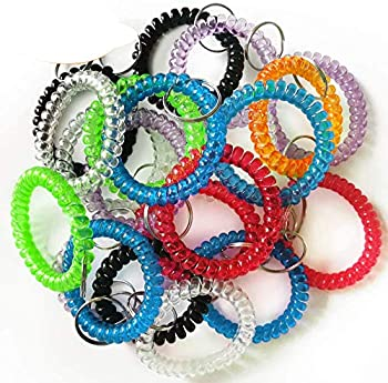 QMET Pack of 35 Stretchable Plastic Bracelet Wrist Coil Wrist band Key Ring Chain Holder Tag  7 COLORS MIXED
