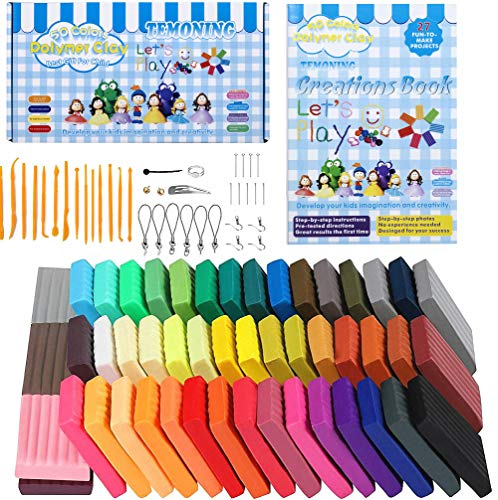 Polymer Clay 50 Colors, Oven-Bake Clay with Acrylic Roller, 32 Model Creation Book, Hard Plastic Tools and Accessories Set, Big Boxes, Wonderful Gift