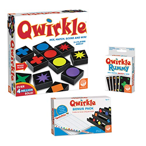 MindWare Qwirkle kit: Qwirkle Board Game, Qwirkle Rummy, and Qwirkle Bonus Pack
