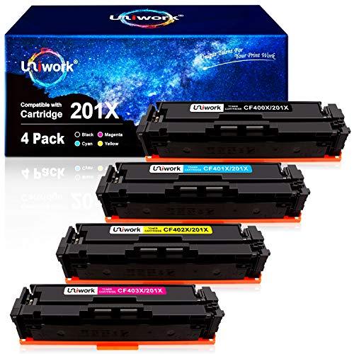 4 Uniwork 201X Cartuchos de tóner para HP 201X 201A CF400X CF401X CF402X para HP Laserjet Pro MFP M277dw M277n M252dw M252n M274n M277c6 (1 Negro, 1 Cian, 1 Amarillo, 1 Magenta)
