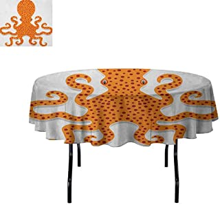 Kraken Printed Tablecloth Cute Spotty Octopus Pattern in Vivid Colors Marine Monster Kids Nursery Theme Print Desktop Protection pad D35 Inch Orange