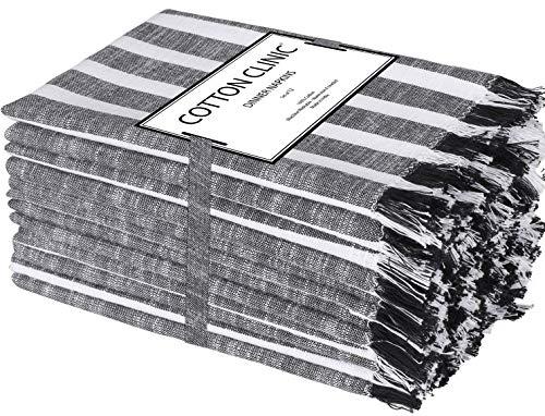 Clinique du coton Lot de 12 Serviettes de Table Coton 50 x 50 cm - Serviettes de Table tissu, Serviettes de Table Mariage - Noir Blanc