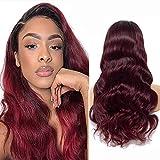 Human Hair Wig Burgundy Echthaar PerüCke Rot Brazilian Body Wave Wig 4x4 Lace Closure Wig Body Wave Human Hair Wig Closure Wigs Human Hair Pre Plucked Bleached Knots Ombre 1b 99j 18 Zoll
