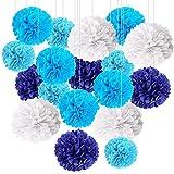 BESTZY Pompones de Papel, Bolas de Flores para Decoración de Fiestas, Adecuados para Decoración de Banquetes, Fiestas de Cumpleaños, Bodas, Varios Tamaños, Azul y Blanco (18 PCS)