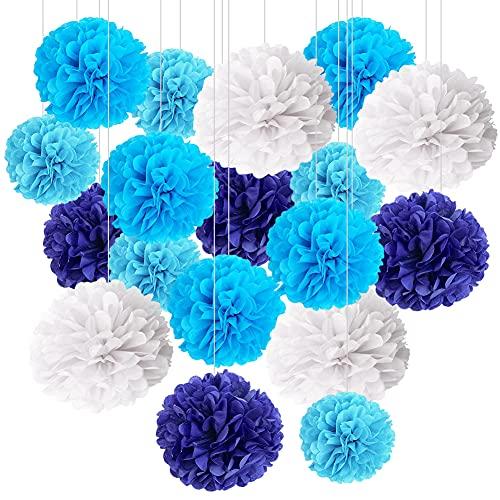 BESTZY Seidenpapier Pompons, Deko Papier Blumenkugeln, Toilettenpapier Pompons, Geburtstagsfeier Hochzeit Baby Taufe Dekoration, Weiß und Blau, 18 Stück