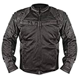 Xelement XS8160 Men's 'All Season Shadow' Black Tri-Tex and Mesh Jacket with X-Armor Protection - X-Large
