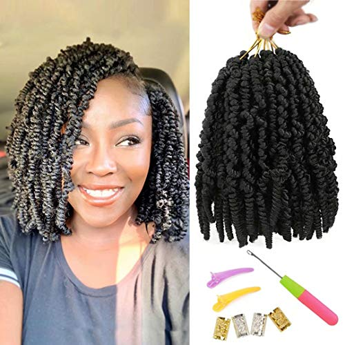 6 Packs Pre-twisted Spring Twist Hair 8 inch Pre-Twisted Passion Twists Crochet Braids For Bob Spring Twists Short Curly Bomb Twist Braiding Hair Hair Extensions (8''6Pcs-1B#)