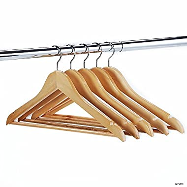 24-Pack Solid Wood Clothes Hangers - Premium Natural Wood Finish - 360 Degree Rotating Chrome Hook - Best Value Set of 24pcs