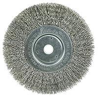 Weiler Trulock Narrow Face Wire Wheel Brush, Round Hole, Stainless Steel 302, Crimped Wire, 6 Diameter, 0.0104 Wire Diameter, 5/8-1/2 Arbor, 1-7/16 Bristle Length, 3/4 Brush Face Width, 6000 rpm by Weiler
